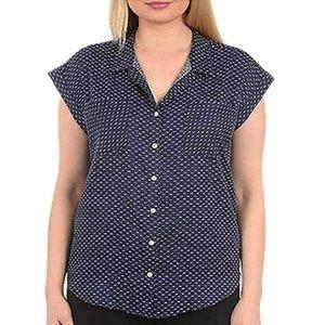 Jachs Women's Cap Sleeve Button Down Shirt